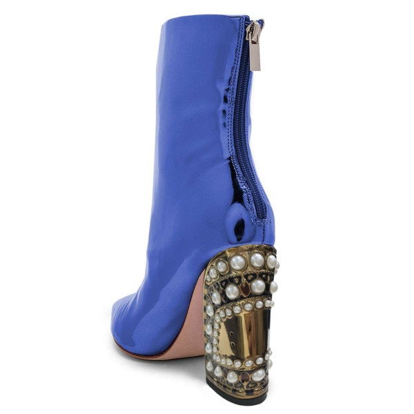 Blue Patent Leather Ankle Booties Pearl Block Heel Boots image 2