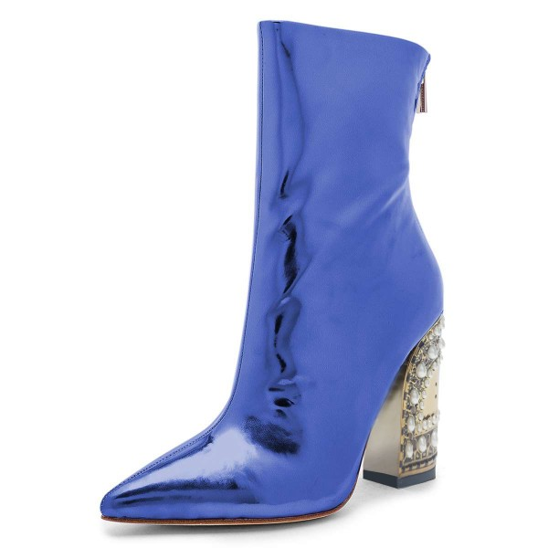 Blue Patent Leather Ankle Booties Pearl Block Heel Boots image 1