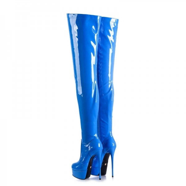 Blue Patent Leather Platform Thigh High Heel boots image 2
