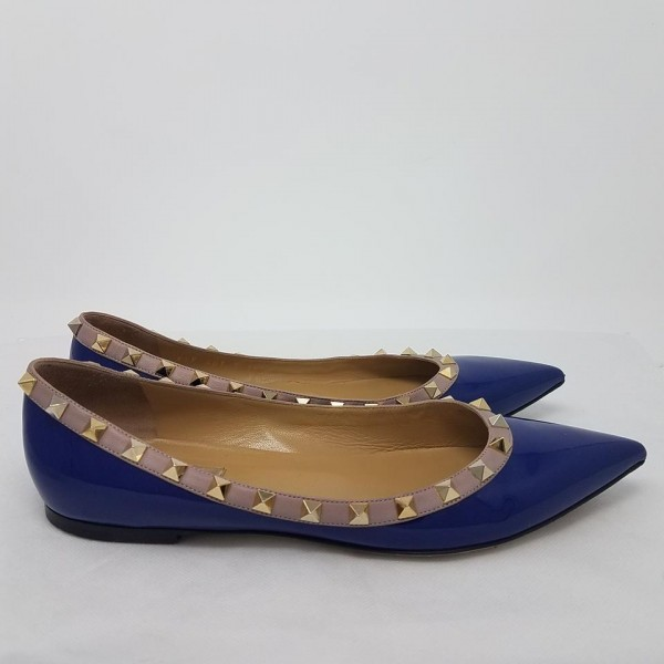 Blue Patent Leather Pointy Toe Flats Rock Studs Trendy Shoes image 3
