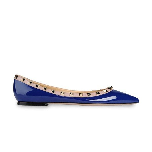 Blue Patent Leather Pointy Toe Flats Rock Studs Trendy Shoes image 2
