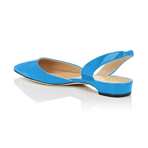 Blue Patent Leather Slingback Shoes Pointy Toe Comfortable Flats image 3