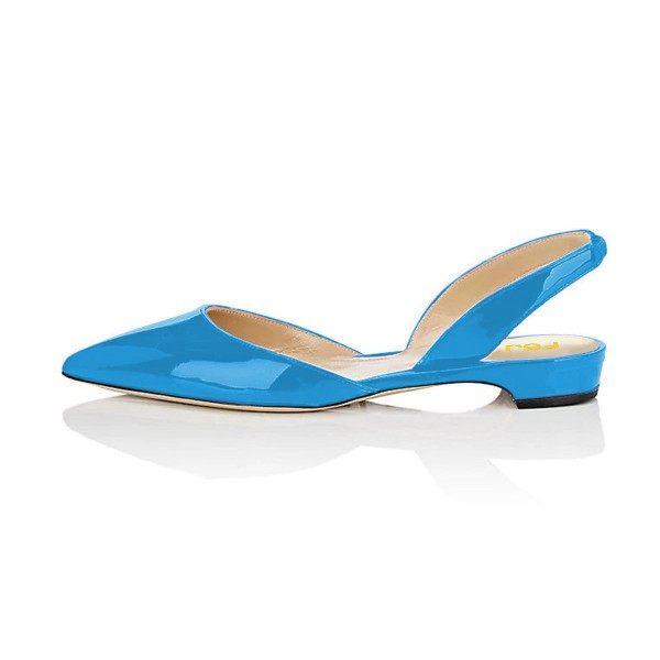 Blue Patent Leather Slingback Shoes Pointy Toe Comfortable Flats image 2