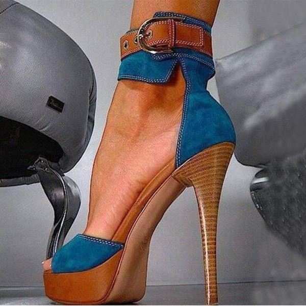 Blue Platform Sandals Suede Ankle Strap High Heels Shoes image 1