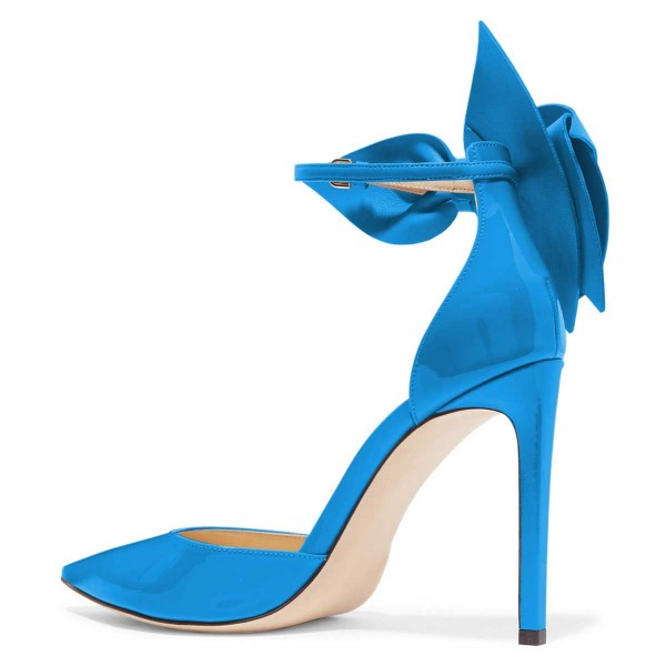 Blue Pointy Toe Bow Ankle Strap Heels Pumps image 2