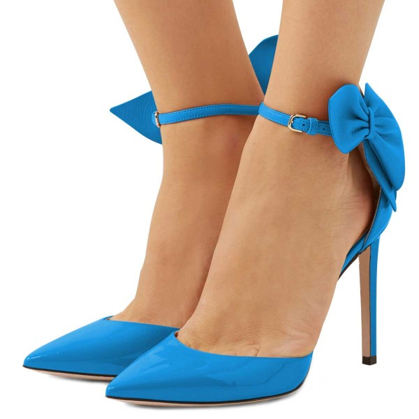 Blue Pointy Toe Bow Ankle Strap Heels Pumps image 1