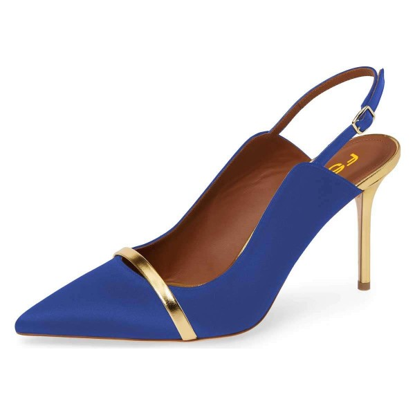 Blue Pointy Toe Gold Strap Stiletto Heel Slingback Pumps image 1