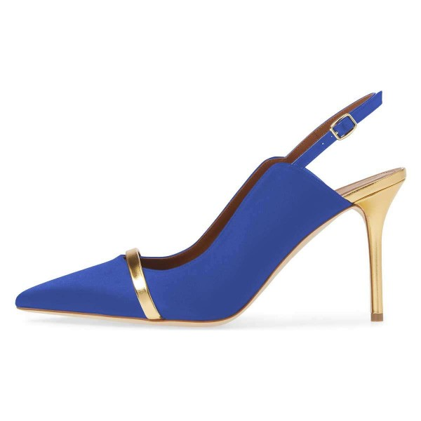 Blue Pointy Toe Gold Strap Stiletto Heel Slingback Pumps image 2