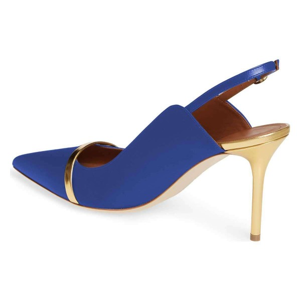 Blue Pointy Toe Gold Strap Stiletto Heel Slingback Pumps image 3