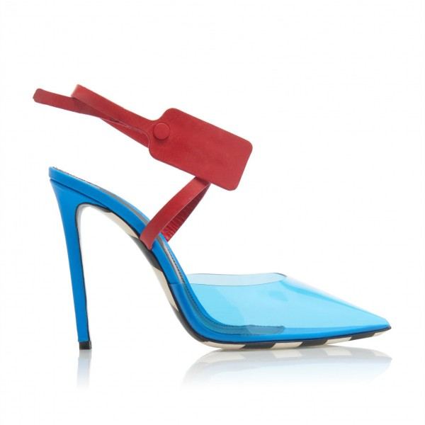Blue and Red PVC Cross Over Agraffe Stiletto Heel Slingback Pumps image 4