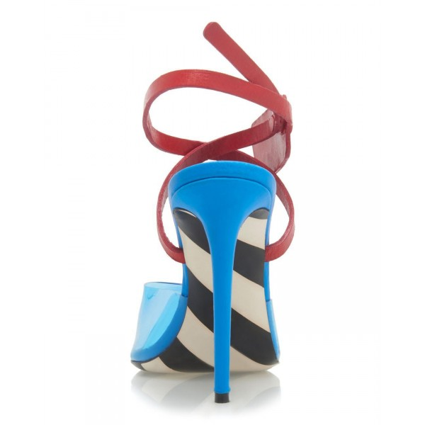 Blue and Red PVC Cross Over Agraffe Stiletto Heel Slingback Pumps image 3