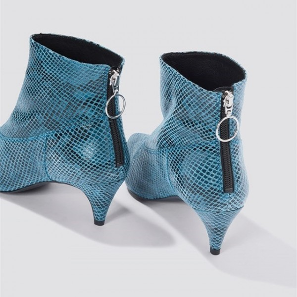 Blue Python Pointy Toe Kitten Heel Boots Ankle Boots image 3