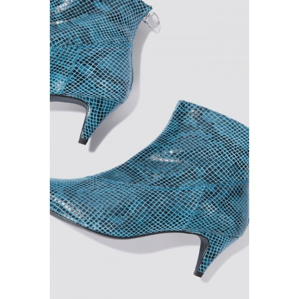 Blue Python Pointy Toe Kitten Heel Boots Ankle Boots image 4