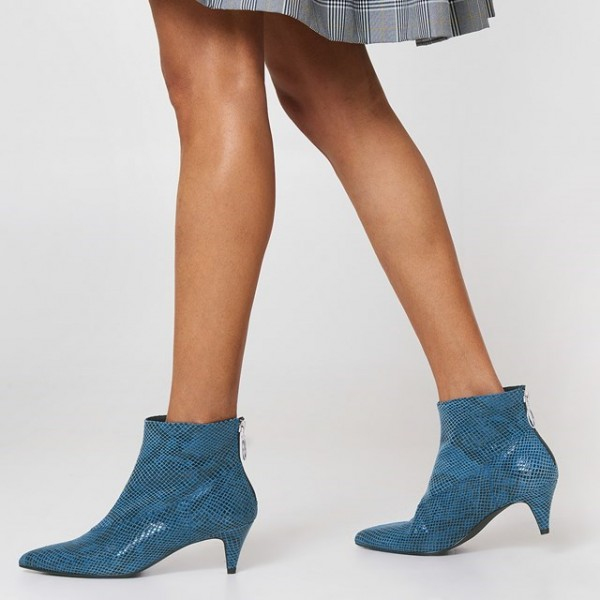 Blue Python Pointy Toe Kitten Heel Boots Ankle Boots image 2