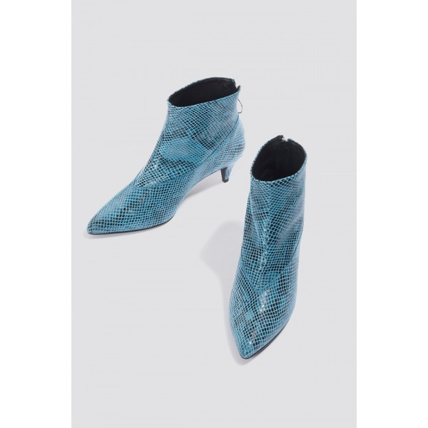 Blue Python Pointy Toe Kitten Heel Boots Ankle Boots image 5