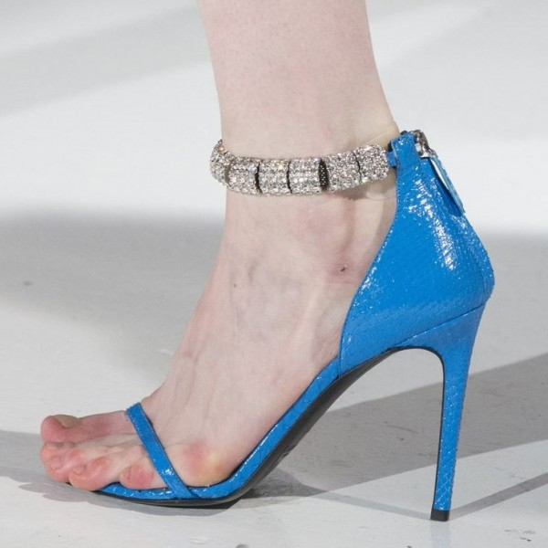Blue Python Rhinestone Open Toe Stiletto Heels Zip Ankle Strap Sandals image 1