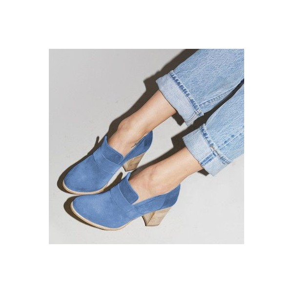 Blue Round Toe Block Heels Suede Heeled Loafers for Women image 4