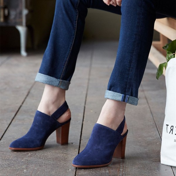 Navy Round Toe Chunky Heels Slingback Ankle Booties image 1