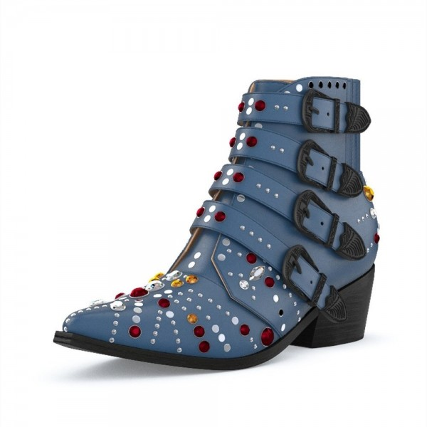 Blue Motorcycle Boots Pointy Toe Chunky Heel Rhinestone Short Boots image 1