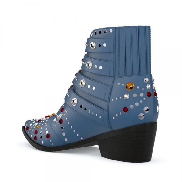 Blue Motorcycle Boots Pointy Toe Chunky Heel Rhinestone Short Boots image 4