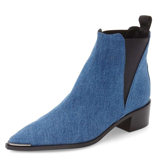 Blue Denim Chelsea Boots Pointy Toe Slip-on Chunky Heel Ankle Boots image 1
