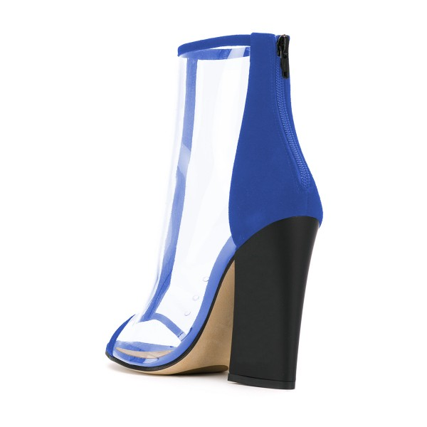 Blue Short Boots Peep Toe Chunky Heel Fashion Clear Ankle Boots image 4
