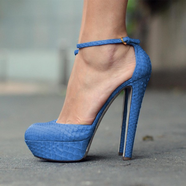 Blue Ankle Strap Sandals Python Chunky Heel Closed Toe Sandals with Platform image 1
