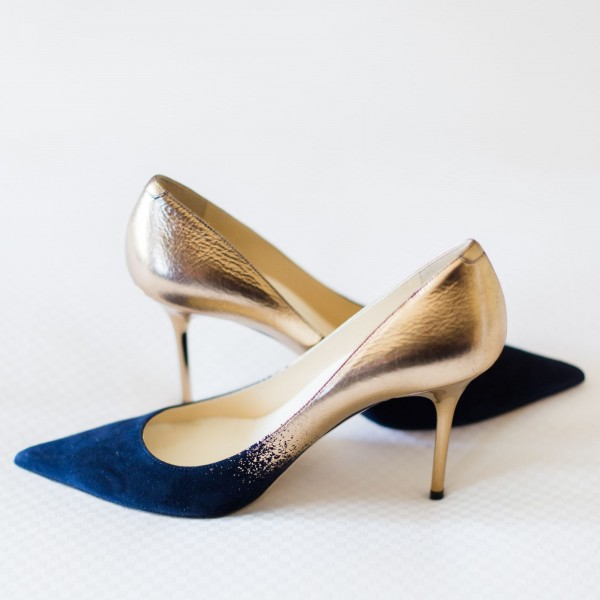 Navy Suede and Gold Prom Shoes Stiletto Heel Pumps image 1