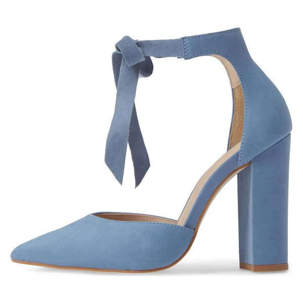 Blue Suede Ankle Strap Heels Bow Pointy Toe Chunky Heel Pumps image 3