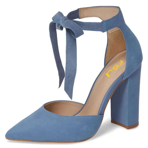 Blue Suede Ankle Strap Heels Bow Pointy Toe Chunky Heel Pumps image 1