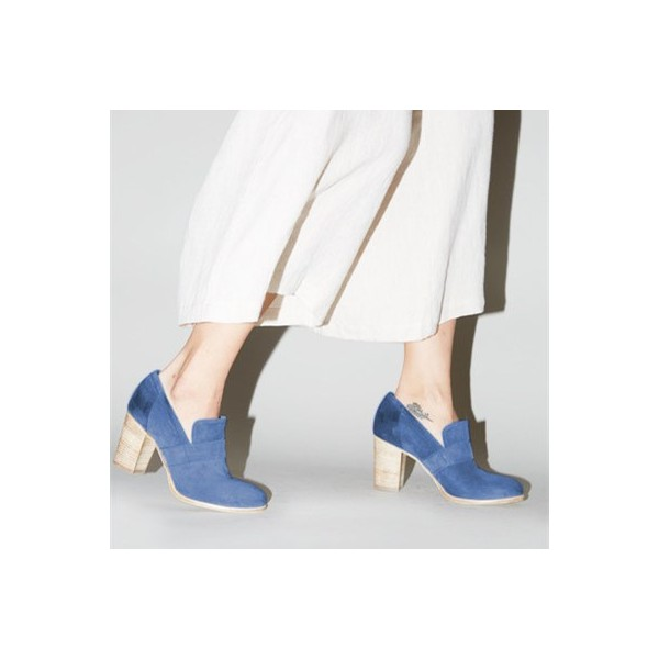 Blue Round Toe Block Heels Suede Heeled Loafers for Women image 3