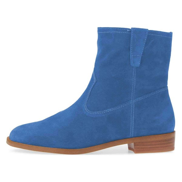 Blue Suede Flat Ankle Booties image 4