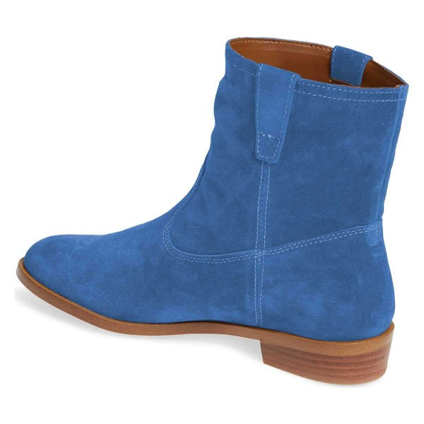 Blue Suede Flat Ankle Booties image 3