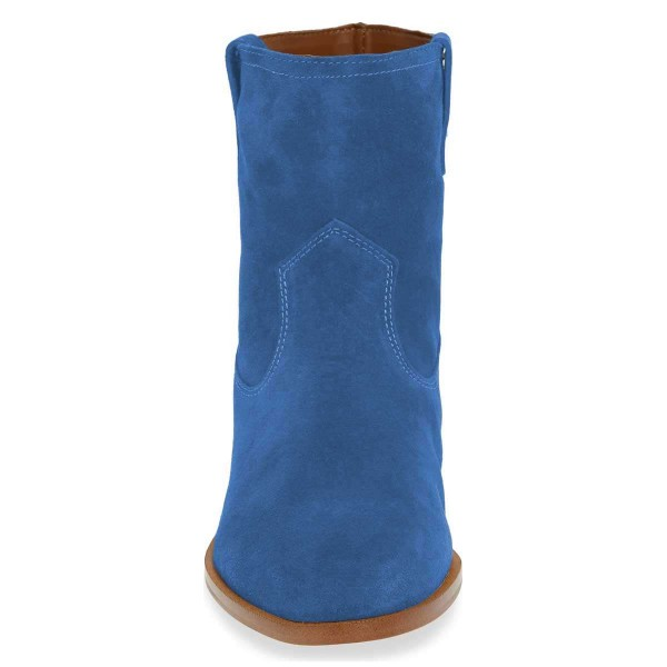 Blue Suede Flat Ankle Booties image 2