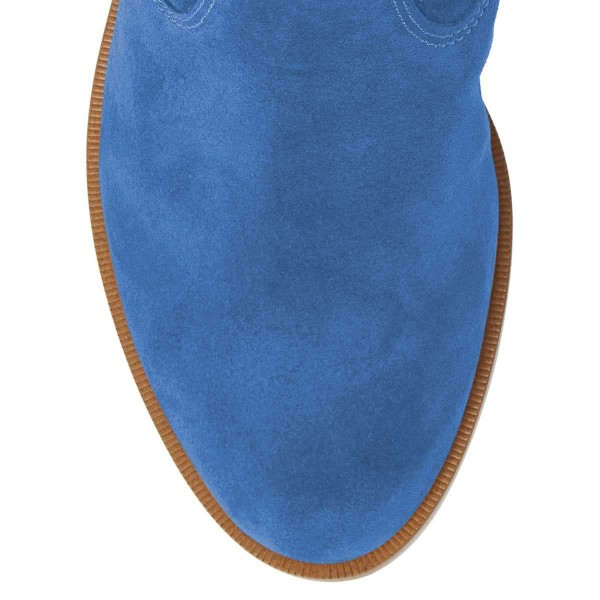 Blue Suede Flat Ankle Booties image 5