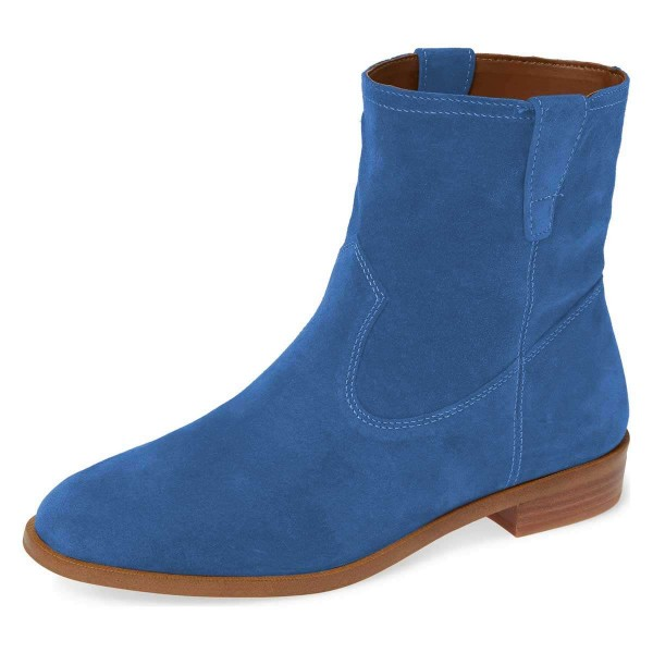 Blue Suede Flat Ankle Booties image 1