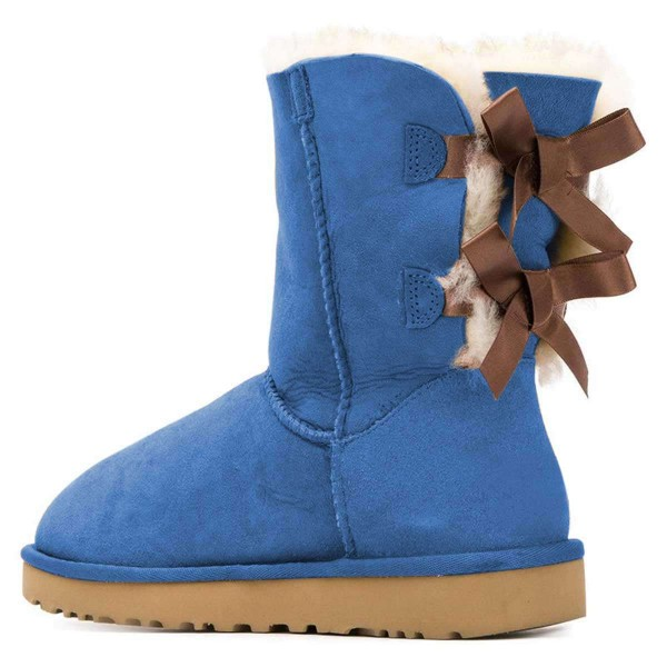 Blue Suede Flat Winter Boots with Bow image 2