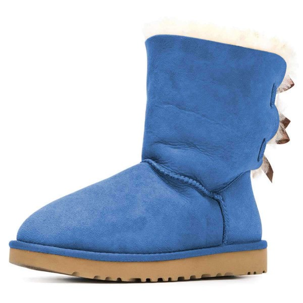 Blue Suede Flat Winter Boots with Bow image 1