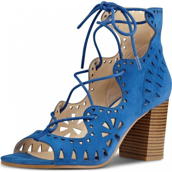 Blue Suede Hollow Out Lace Up Block Heel Sandals image 1