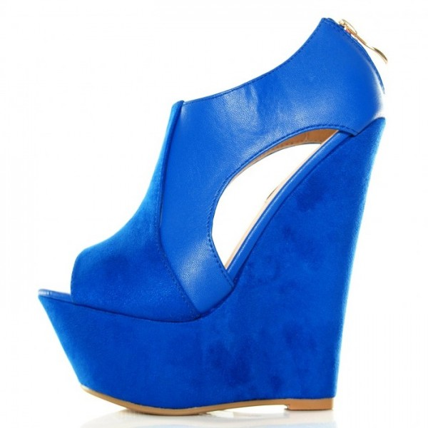 Blue Suede Peep Toe Platform Wedge Sandals image 2