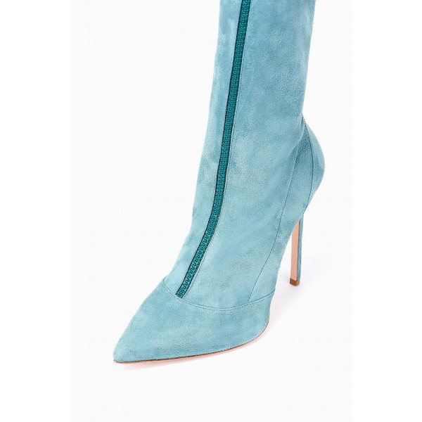 Blue Suede Zip Thigh High Heel Boots image 2