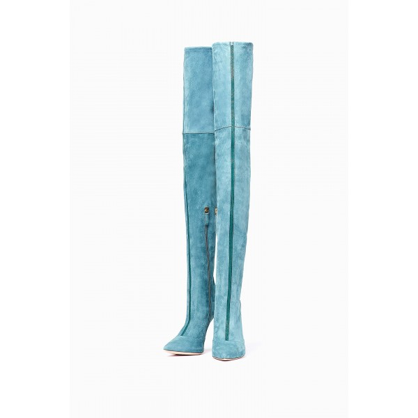Blue Suede Zip Thigh High Heel Boots image 1