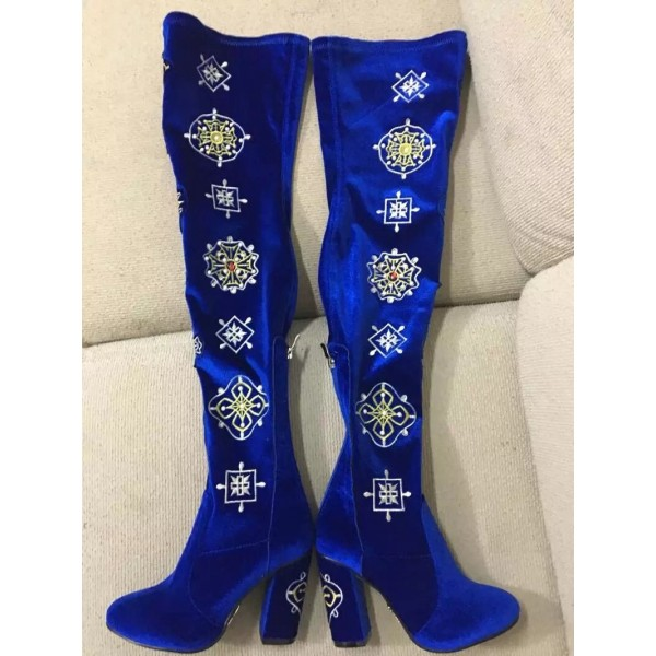 Blue Velvet Floral Long Boots Chunky Heel Thigh High Boots image 2
