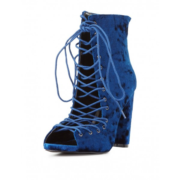 Blue Velvet Lace up Boots Chunky Heel Peep Toe Ankle Booties image 1