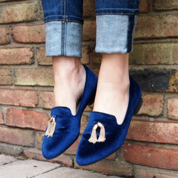 Navy Velvet Tassel Loafers Casual Shoes for Women image 1