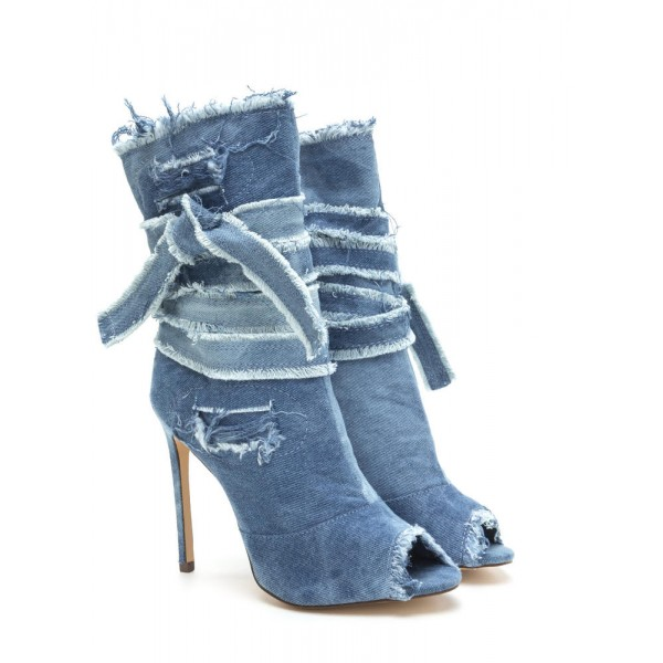 Women's Peep Toe Heels Denim Boots Stiletto Heels Ankle Booties image 5