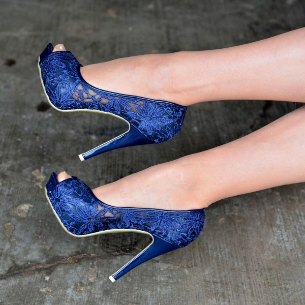 Navy Wedding Shoes Lace Heels Peep Toe Platform Pumps image 2