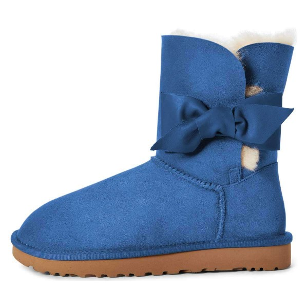 Blue Winter Boots Flat Suede Comfy Mid Calf Snow Boots US Size 3-15 image 1