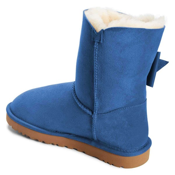 Blue Winter Boots Flat Suede Comfy Mid Calf Snow Boots US Size 3-15 image 3