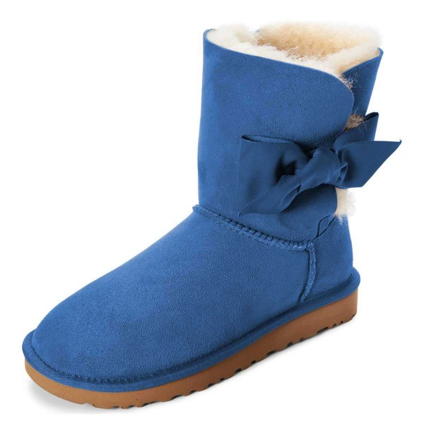 Blue Winter Boots Flat Suede Comfy Mid Calf Snow Boots US Size 3-15 image 2